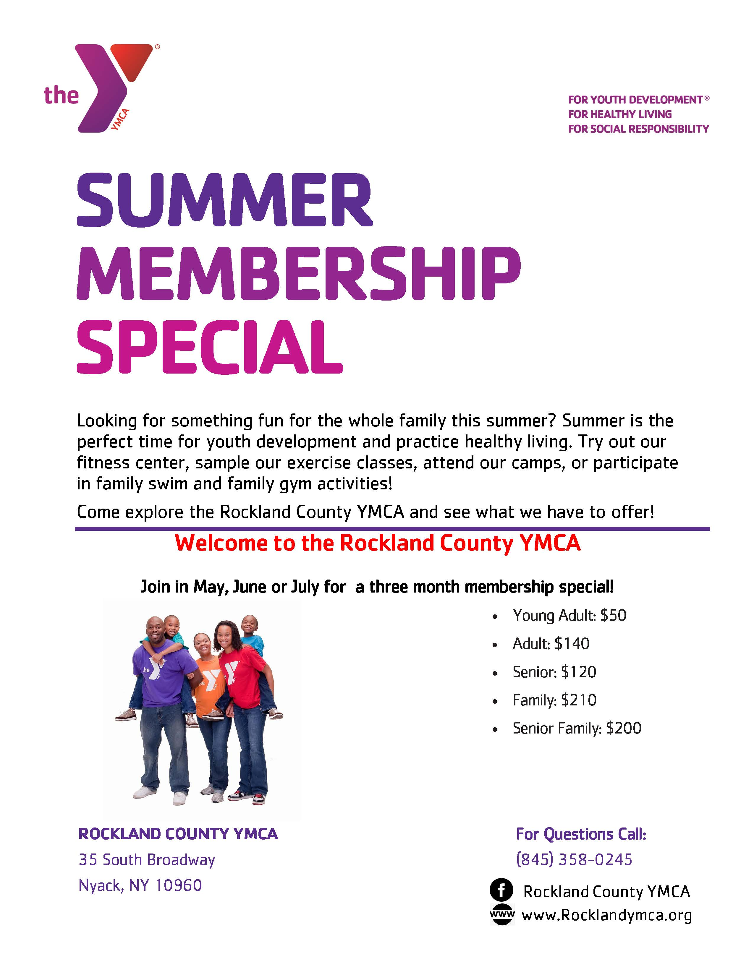 NEW Special Summer 3 month membership - Rockland County YMCA